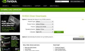 Página de download de drivers da Nvidia